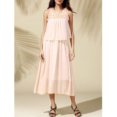 Bohemian Beach Scoop Neck  Sleeveless Chiffon Maxi Dress For Women