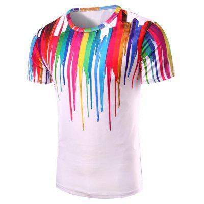 Buy 3D Colorful Vertical Splatter Paint T-Shirt COLORMIX XL for $10.39 in GearBest store