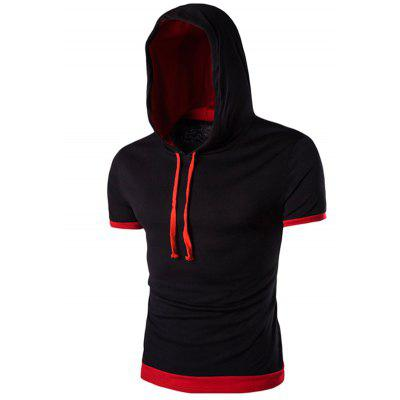 Hooded Color Block Splicing Flase Twinset Short Sleeve Men's T-Shirt