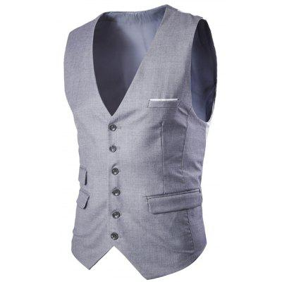 Single Breasted Solid Color Men's Waistcoat