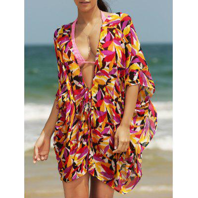 Stylish Women's Plunging Neck Loose Print Cover Up
