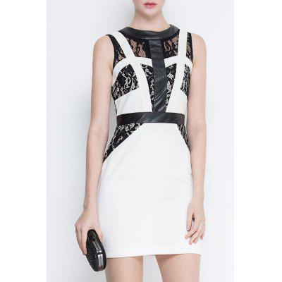Lace Spliced Bodycon Sleeveless Dress