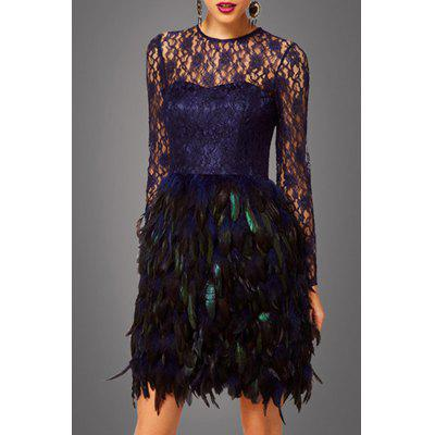 Lace Bodice Feather Prom Dress