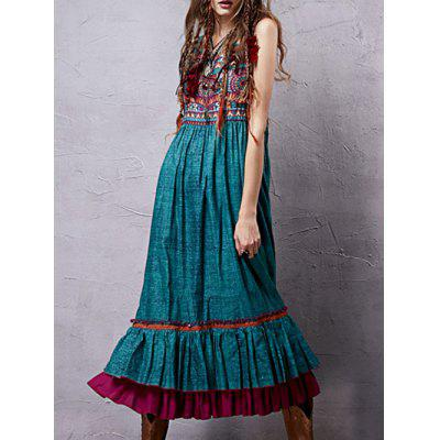 Stylish V Neck Sleeveless Retro Printed Flounce Ruffles Women's Dress