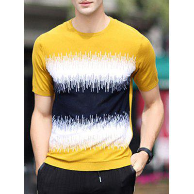 Round Neck Color Block Splicing Design Loose-Fitting Short Sleeve T-Shirt For Men