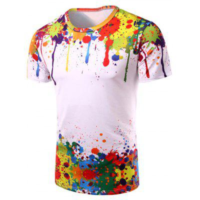 3D Colorful Splatter Paint Short Sleeve T-Shirt