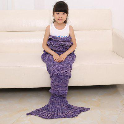 Buy PURPLE Flouncing Sleeping Bag Mermaid Design Knitted Blanket and Throws For Kids for $16.67 in GearBest store