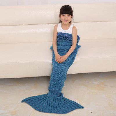 Buy TURQUOISE Flouncing Sleeping Bag Mermaid Design Knitted Blanket and Throws For Kids for $17.79 in GearBest store