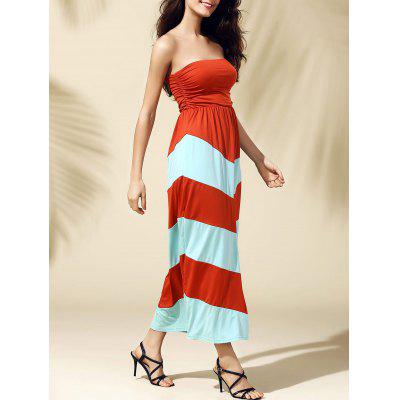 Strapless Stripe Long Summer Dress