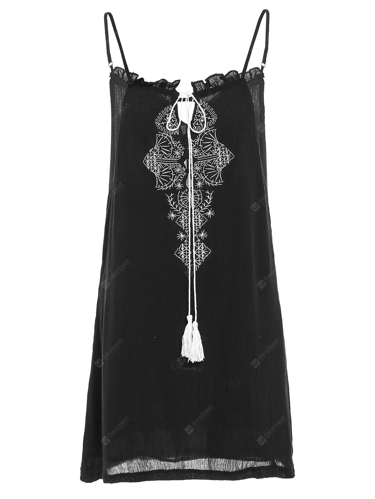 Trendy Spaghetti Strap Embroidery Fringed Women's Dress