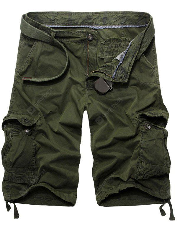 Buy Casual Loose Fit Solid Color Cargo Shorts Men 36 ARMY GREEN