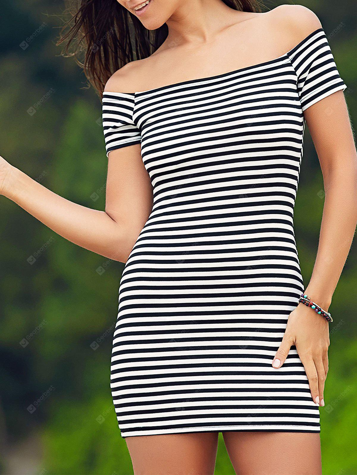 Sweet Cold Shoulder Striped Ribbed Women's Dress
