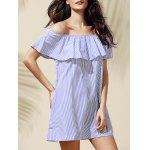 Casual Off-The-Shoulder Striped Flounce Women's Dress - BLUE