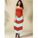 cheap Strapless Stripe Long Summer Dress