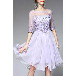 Round Neck Voile Spliced Floral Embroidery Dress - LIGHT PURPLE