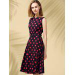 cheap Retro Style Polka Dot Fit and Flare Dress