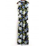 Buy Fashion V-Neck High Slit Floral Wrap Maxi Dress Women M COLORMIX