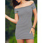 Sweet Cold Shoulder Striped Ribbed Women's Dress - WHITE AND BLACK