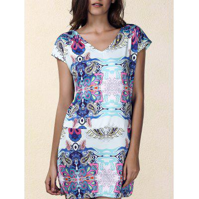 Ethnic Print Mini Shift Dress