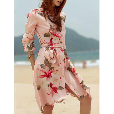 Stylish Shirt Collar Tropical Print Belted Women's Dress