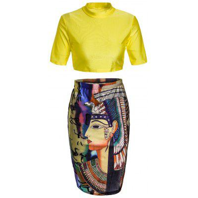 Round Neck Crop Top and Graphic Bodycon Skirt