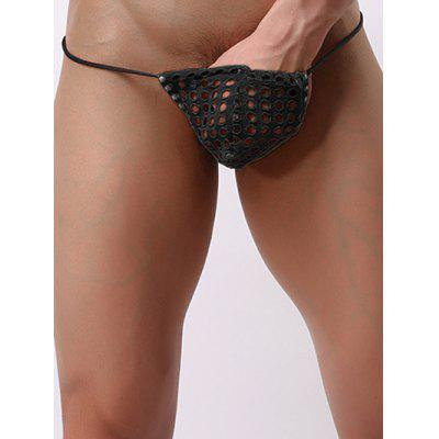 Monobutyl Hollow Out Mesh Low Waist Mini Thongs For Men