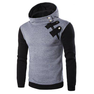 Inclined Zipper Color Block Hooded Long Sleeves Hoodie For Men цена 2017