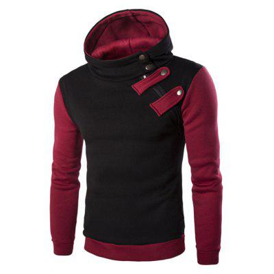 Buy BLACK Inclined Zipper Color Block Hooded Long Sleeves Hoodie For Men for $15.94 in GearBest store