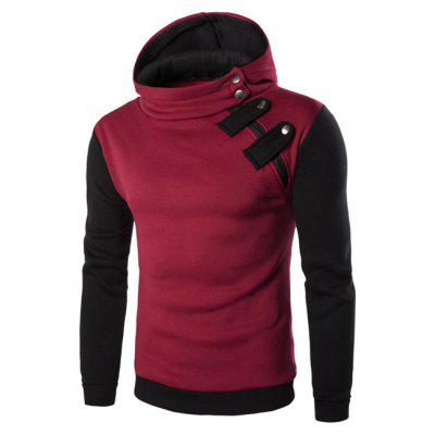 Buy RED Inclined Zipper Color Block Hooded Long Sleeves Hoodie For Men for $16.07 in GearBest store