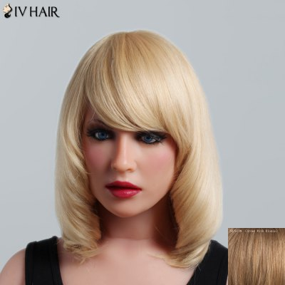 Buy BROWN WITH BLONDE Fluffy Natural Straight Capless Human Hair Noble Medium Side Bang Siv Hair Wig For Women for $95.89 in GearBest store