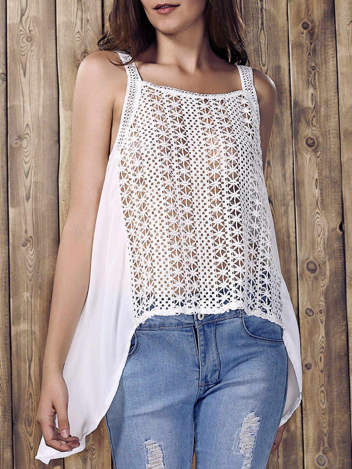 Hollow Out High Low Tank Top