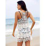 Chic U Neck Sleeveless Crochet Pattern White Cover-Up For Women - WHITE