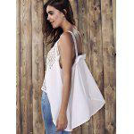 Hollow Out High Low Tank Top - WHITE