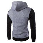 Inclined Zipper Color Block Hooded Long Sleeves Hoodie For Men - LIGHT GRAY
