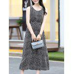 Buy Trendy Sleeveless Striped Waisted Women's Dress L BLACK