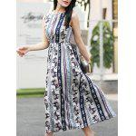 Buy Trendy Sleeveless Printed Waisted Women's Dress L COLORMIX