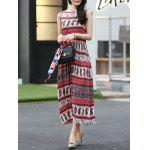 Buy Ethnic Print Waisted Long Dress Women M RED