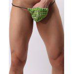 Monobutyl Hollow Out Mesh Low Waist Mini Thongs For Men - GREEN