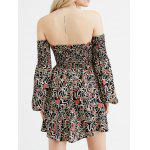 Off The Shoulder Smocked Floral Print Dress - BROWN