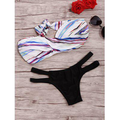Twist Strapless Bra Cut Out Bikini Set
