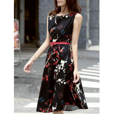 Stylish Jewel Neck Sleeveless Belted Dress For Women