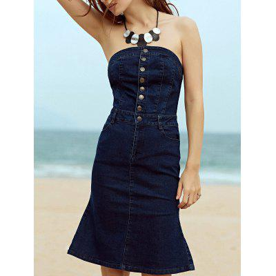 Stylish Strapless Sleeveless Single-Breasted Mermaid Women's Dress