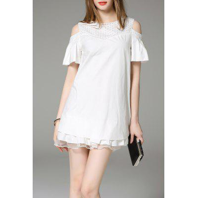 Solid Color Cold Shoulder Dress