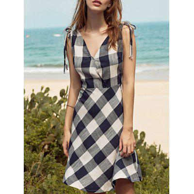 Casual Sleeveless Checked Fit and Flare Women's Dress