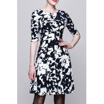 Round Collar Printed Half Sleeve Dress