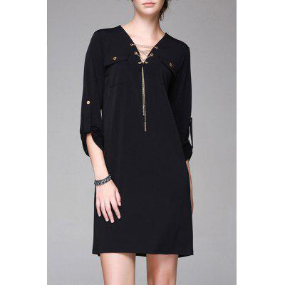V Neck Double Pockets Dress