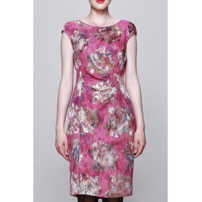 Bodycon Floral Jacquard Dress