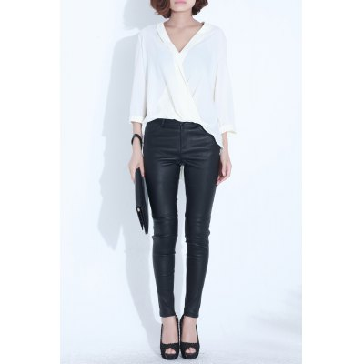 Plunging Neck Asymmetric Blouse