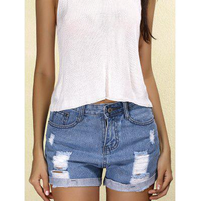 Stylish Mid Waist Ripped Denim Cuffed Shorts For Women