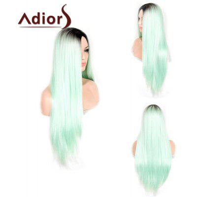 Trendy Black Ombre Green Middle Part Synthetic Silky Straight Capless Adiors Wig For Women